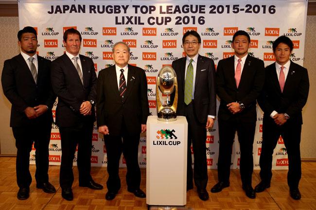記者会見に出席した両チームの監督・主将とLIXIL野口部長(右から3人目)、髙島チェアマン(同4人目) photo by Kenji Demura